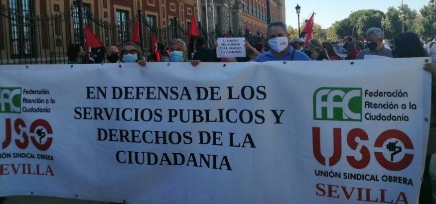 USO, en la manifestación en defensa de la sanidad y educación públicas. Sindicato USO-Andalucía
