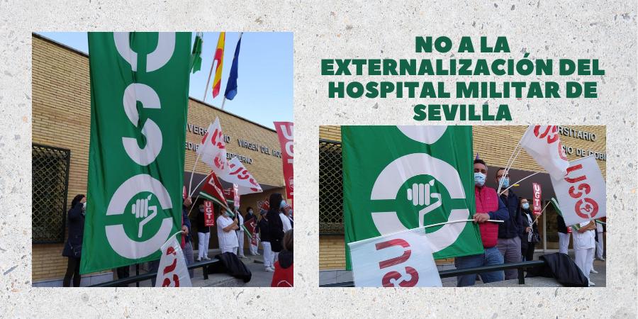 USO se concentra en el Hospital Militar de Sevilla. Sindicato USO-Andalucía