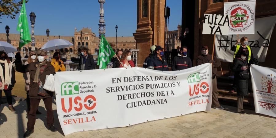 USO-Andalucía se moviliza contra la temporalidad en la Administración Pública. Sindicato USO-Andalucía