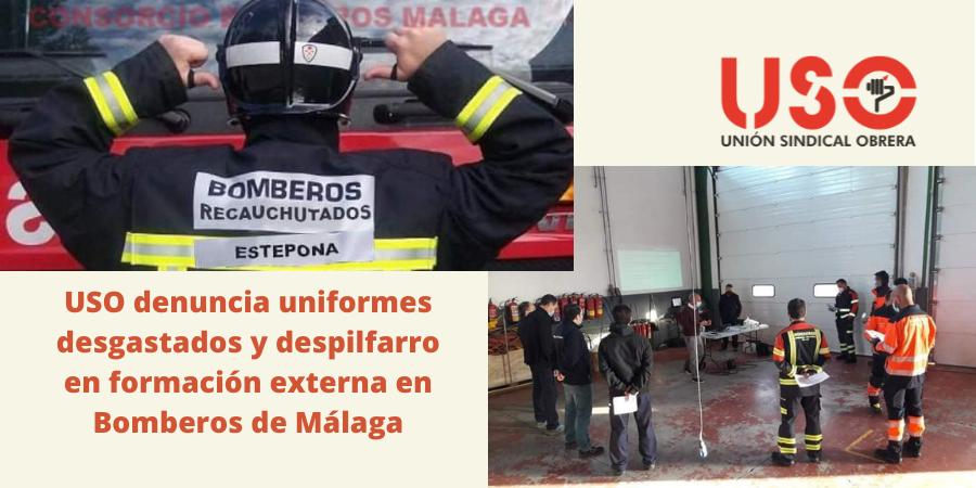 USO denuncia el estado de los uniformes de los bomberos de Málaga. Sindicato USO-Andalucía