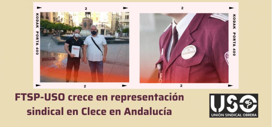 FTSP-USO crece en representación sindical en Clece Seguridad en Andalucía